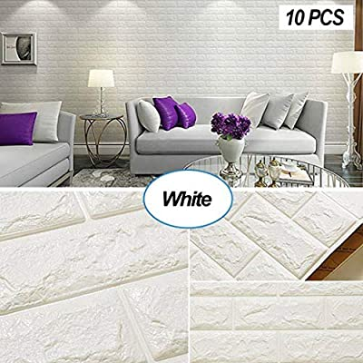 Masione 3D Self-Adhesive Wall Panels Faux Foam Bricks Wallpaper for TV Walls/Sofa Background Wall Decor (White-10 Pieces 58.13 sq.ft)
