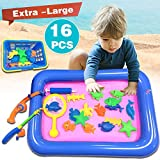 Ereon Kid Bath Beach Toys ,Magnetic Floating Fishing Game 16PCS Fishing Game Playsets in Bathub Bathroom Beach Pool Water Fun Learning Education Toys for Kids Boys Girls Baby Toddlers Summer Outdoors