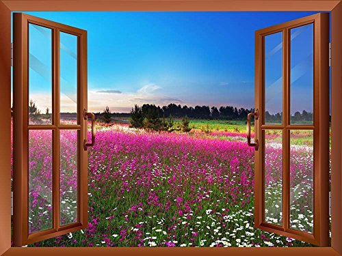 Sunrise over a Blossoming Field Removable Wall Sticker Wall Mural