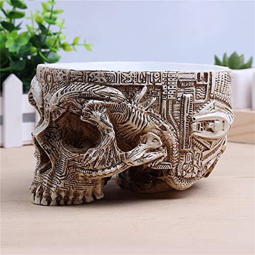 White-Antique-Sculpture-Human-Skull-Planter-Garden-Storage-Pots