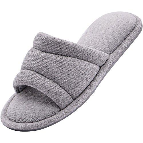 Wishcotton Women's Open Toe Slide House Slippers Comfy Velvet Lined Memory Foam Indoor Shoes (L, Light Grey)