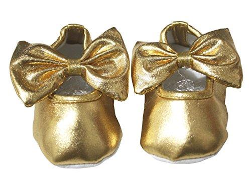 Baby Schuhe Gold Polyester Schleife Kinderbett Schuhe für Unisex Baby nb-18months (0