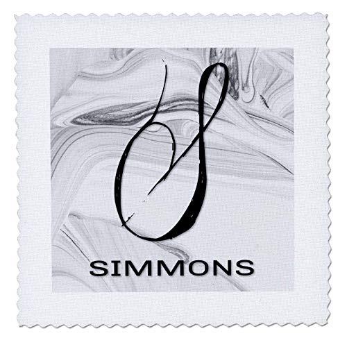 3dRose BrooklynMeme Monograms - White Marble Monogram S - Simmons - 20x20 inch quilt square (qs_310095_8)