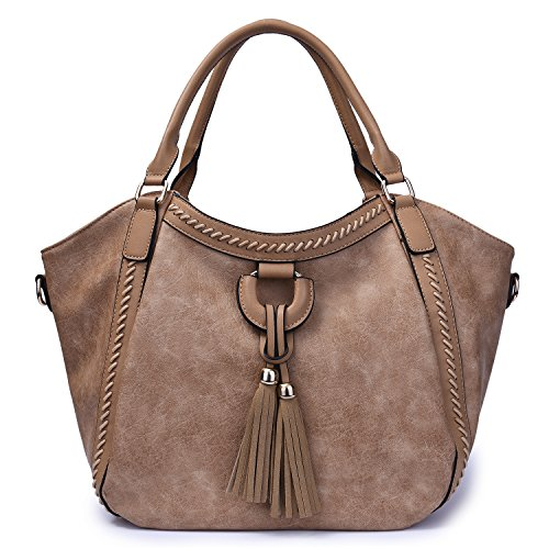 Mn&Sue Women's Hobo Handbag Leather Shoulder Tote Purse Large Top Handle Satchel Roomy Beach Bag with Tassel (Apricot)