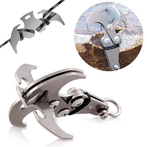 SAIGE High Performance Gravity Hook Multifunctional Stainless Steel Survival Folding Grappling Hook Climbing Claw Gravity Carabiner for Outdoor Life