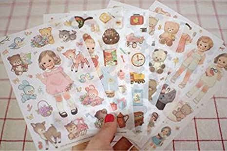 YPSelected 6 Hojas DIY Cartoon Rabbit Girl Diario Notebook Ablums Decoración Papel Stickers Sets Etiqueta Paquete de Regalo Scrapbooking (PVC)