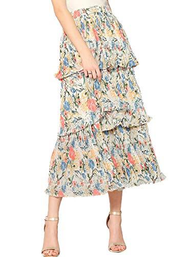 (WDIRARA Women's Solid High Waist Tiered Layered Ruffle A-Line Skirt White)