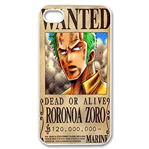 Custom one piece wanted dead or alive iPhone 4,4S Hard Plastic Shell Case Cover White&Black(HD image)