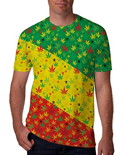 (Goodstoworld Mens 3D Graphic Tees Colorful Cannabis Weed Rave Shirts Novelty T-Shirts Topical Hawaiian Shirts Beach Party Volleyball Fitness Gymwear Short Sleeve Tee Top Blouse Shirts Large)