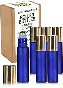 Highest Quality Frosted Glass Roll On Bottles - 1/3oz(10ml) - 6 Pack with Stainless Steel Metal Roll-On Balls - Free Recipe eBook Ideal For Essential Oils, Perfumes, Aromatherapy (Purple Lids)
