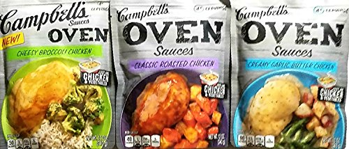 Variety Pack of 3 Campbell's Oven Sauces - Cheesy Broccoli Chicken, Classic Roasted Chicken, Creamy Garlic Butter (Creamy Roasted Garlic)