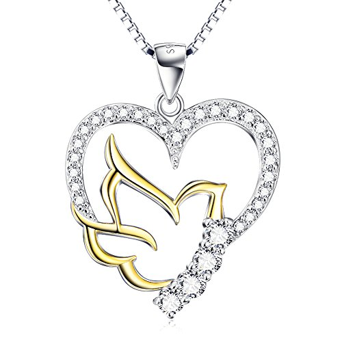(SILVER MOUNTAIN 925 Sterling Silver Doves Birds Faith Hope Love with Open Heart Pendant Necklace, 18
