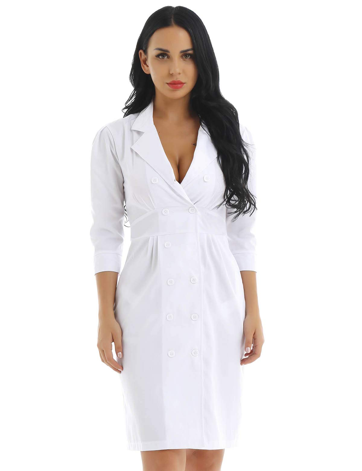 dPois Women Adult Double Breasted Button Medical Nursing Scrubs Lab Coat Uniforms Dress White 2X-Large