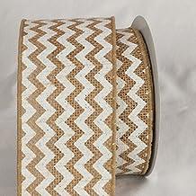 "Set of 4 Tan and White Burlap Chevron Print Wired Craft Ribbon 3"" x 40 Yards"