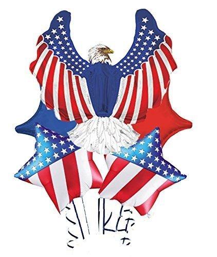 Patriotic Eagle Shape-a-loon Balloon Bouquet Assortment (5 Per Package) ()