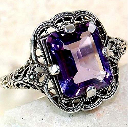 YAYAYOUYOU Plated 925 Silver and Diamond Sapphire Ring Women's Engagement Ring Pattern Openwork Ring (Purple, 10)