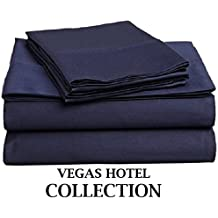 """VEGAS HOTEL COLLECTION - Italian Finish { Navy Blue, Solid } Luxurious Looking { 4PCs } Sheet Set - Fits upto 10-15 inch Sofa Cum Bed Egyptian Cotton 400 Thread Count ( RV 28"""" x 75"""" )"""