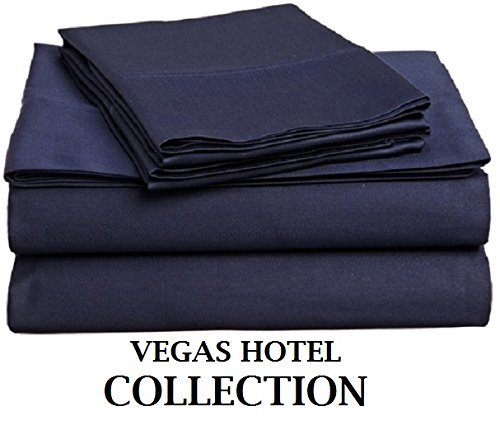 Vegas Sofa Collection (VEGAS HOTEL COLLECTION - Italian Finish { Navy Blue, Solid } Luxurious Looking { 4PCs } Sheet Set - Fits upto 10-15 inch Sofa Cum Bed Egyptian Cotton 400 Thread Count ( RV 28
