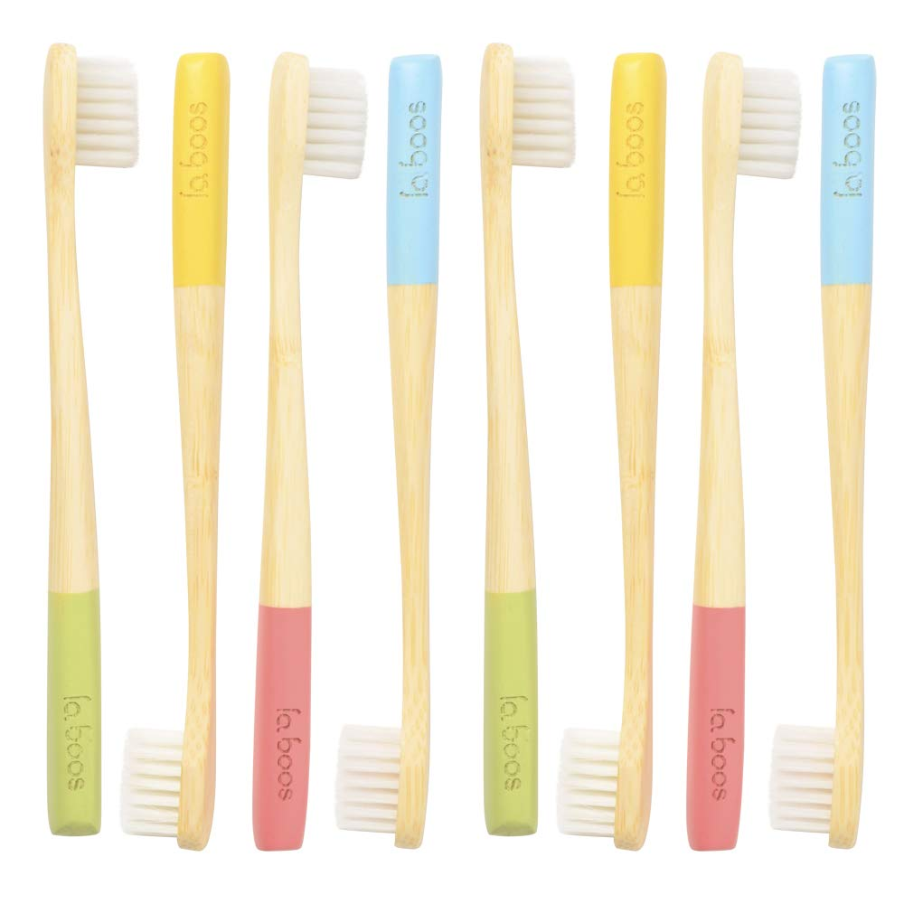 LaBoos Bulk Colorful Kids Bamboo Toothbrushes,Best Nature Manual Travel Toothbrush, New Extra Soft Compact Bristle Gum Toothbrush,Best Toothbrush For Gingivitis And Sensitive teeth (8 PCS)