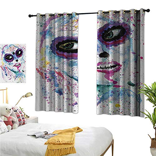 WinfreyDecor Thermal Insulated Drapes for Kitchen/Bedroom Grunge Halloween Lady with Sugar Skull Make Up Creepy Dead Face Gothic Woman Artsy 55