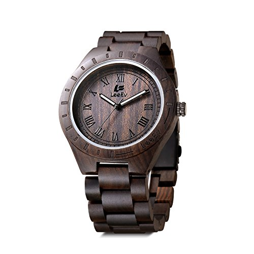LeeEv Wood Watch 47.5 mm Luxury Brand EV1001 Handmade Mens Wooden Watches Analog Quartz Lightweight Vintage Sandalwood Big Wrist Watch