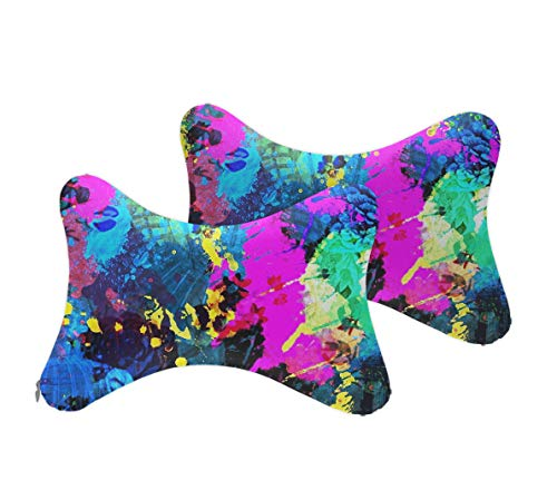NiYoung Pack of 2 Psychedelic Trippy Splash Painting Car Seat Neck Pillow Ergonomic Design, Balanced Softness Memory Foam Head Neck Pillow for Driving, Travel, Car, Travel Neck Pillow