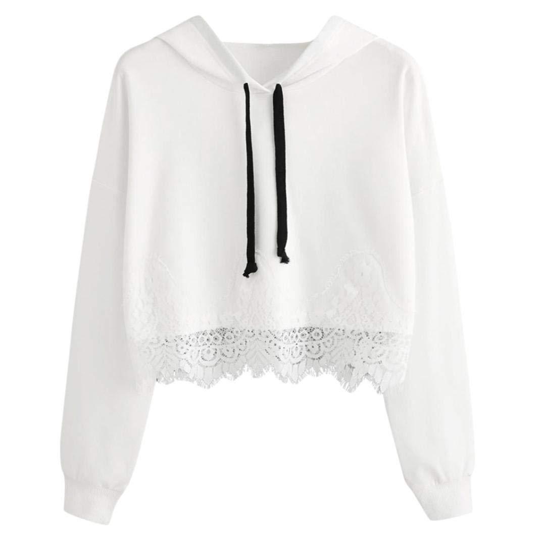 Spbamboo Women Lace Long Sleeve Blouse Hooded Sweatshirt Pullover Tops Shirt