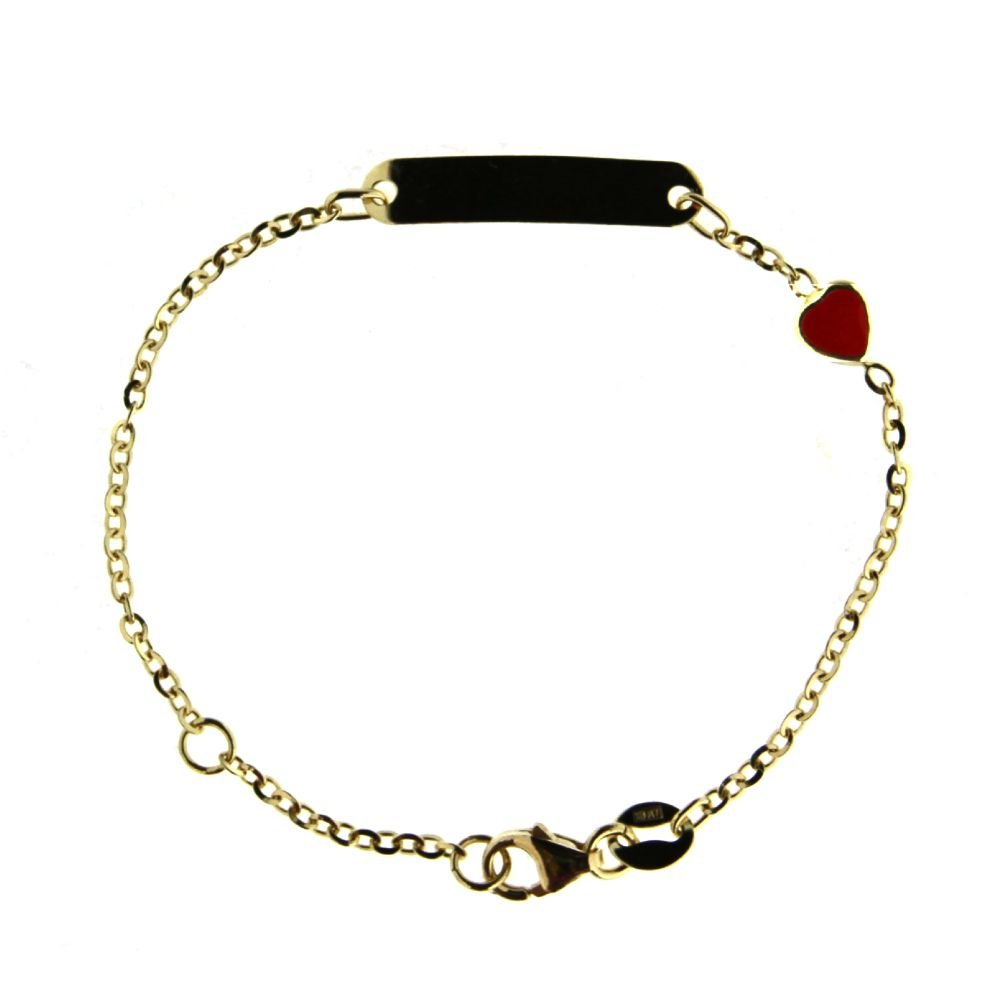 18K Yellow Gold Red enamel Heart ID bracelet 5.40 inches with extra ring at 4.75 inch