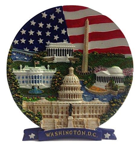 USA Flag , Washington Monument, Lincoln Memorial, Jefferson Memorial, White House & U.S Capitol Washington DC Decorative Plate- Washington DC - Washington Monument Dc Lincoln