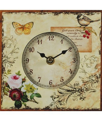 Square Table Clock with Butterfly/Bird Blossoms And Butterflies Clock