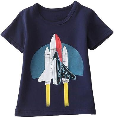 Innerternet-Camiseta de niño, (2-8 años de Edad) Bebes niños Camiseta de Manga Corta de Estampado de Dinosaurios de Dibujos Animados de Verano(Verde/Armada/Amarillo): Amazon.es: Ropa y accesorios