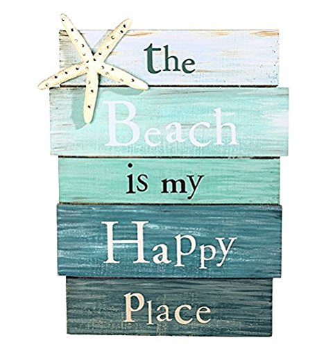 The Beach Is My Happy Place - Plank Board Sign with Starfish and Rhinestone Accents 12