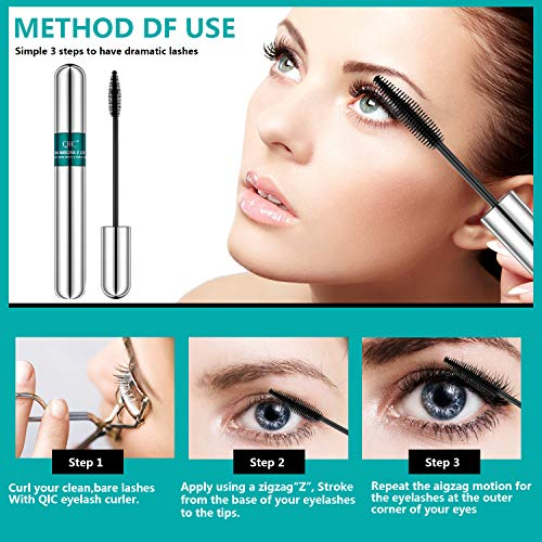 4D Silk Fiber Lash Mascara,2 in 1 Thrive Mascara For Natural Lengthening And Thickening Effect,no clumping Superstrong Waterproof No Toxic Mascara for Long-Lasting,Beauty Charming Eye Make up.