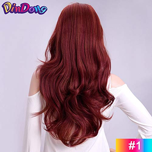 XISAY Half Wigs With Clip in Hair Extensions Long Full Wavy Hai Sexy Lady Full Wig Natural Color Heat Resistant Cheap For Party Wigs Daily Dress High Density 24