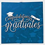 Cotton Microfiber Hand Towel,Graduation Decor,College Celebration Ceremony Certificate Diploma Square Academic Cap,Blue and White,for Kids, Teens, and Adults,One Side Printing