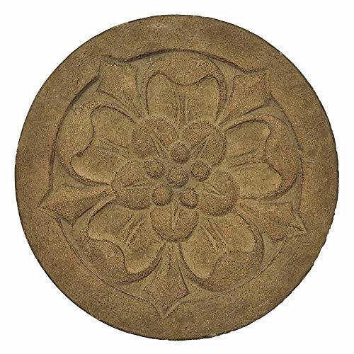 MPG 12 in. Round Cast Stone Small Floral Stepping Stone or Wall Plaque in Ivory Finish