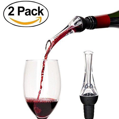[2 Pack] Mulan Wine Aerator Pourer Premium Wine Decanter Spout Aerating Pourer for Wine Lover - Black (Gift-Set) by Mulan