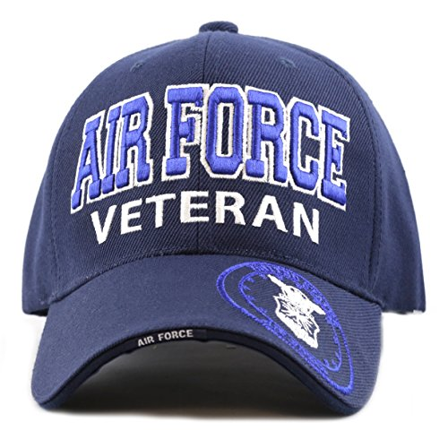 THE HAT DEPOT 1100 Official Licensed Military 3D Embroidered Air Force Veteran Cap (Air Force-Navy) Veteran Embroidered Baseball Cap