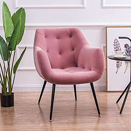 Chairlxy Terciopelo tapizar Sillas, sofá de la Sala de Metal Hierro Forjado sillas de Comedor sillas de Terciopelo de Ocio para Cocina, Comedor, Dormitorio, Sala de Estar,Rosado