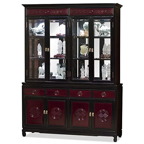 ChinaFurnitureOnline Rosewood China Cabinet, 60 Inches Longevity Motif Two Tone Display Cabinet Dark Cherry and Black Ebony Finish