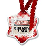 Christmas Ornament Warning Animal Welfare At Work Vintage Fun Job Sign, red - Neonblond