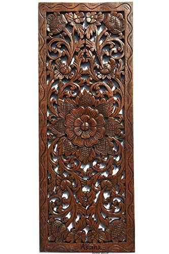 Large Carved Wood Wall Panel. Floral Wood Carved Wall Decor. Size 35.5''x13.5''x0.5'' Asiana Home Decor (Brown) by Asiana Home Decor