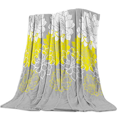 - FortuneHouse Flannel Fleece Blanket Dahlia Flower Yellow White Floral Grey Background Super Soft Warm Cozy Bed Couch Car Throw Blanket for Children Adult Travel All Reason 40x50inch