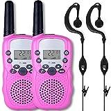 Afantti Walkie Talkies Kids Girls Adults Two Way Radios Toddler Little Kids Birthday Gift Toy | 2+ Mile Long Range | Flashlight | 2 X Earpiece | 3 - 12 Year Old Age, Pink
