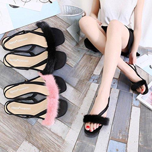 Transer Ladies Leisure Flat Sandals- Women Summer Roman Sandals Comfy Shoes Casual Pink 83AQCHWFN