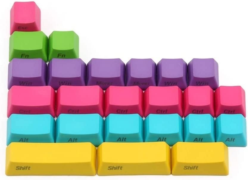 Keyboard keycaps 24keys Printed Profile for USB Mechaniacl Keyboard Thick PBT Keycap Withpuller Color : 24 Keys Side Printed