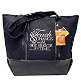 Teacher Peach Denim Tote School Teacher Bag, Perfect Gift for Teachers
