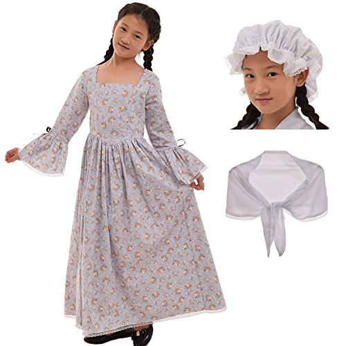 GRACEART Colonial Girls Dress Prairie Pioneer Costume 100% Cotton (5 Colors Option) (16, Grey)
