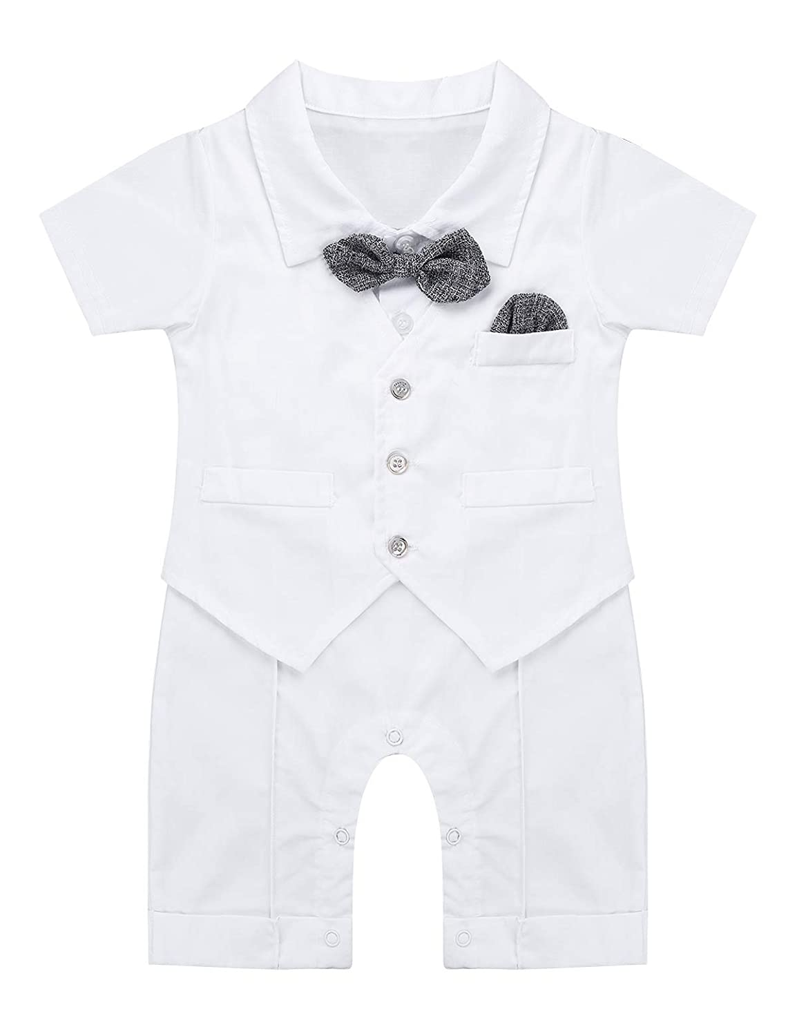 dPois Infant Baby Boys One-Piece Short Sleeves Gentleman Bowtie Romper Jumpsuit Birthday Photography Prop Outfits