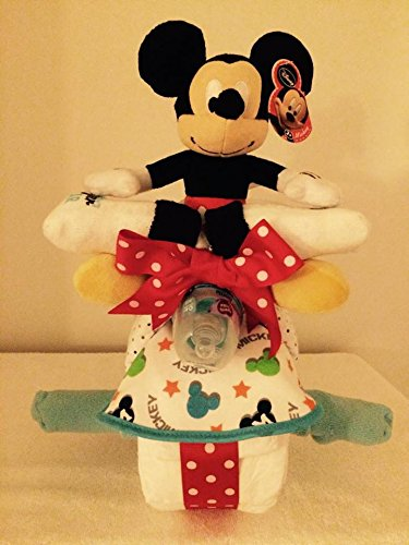 Mickey Mouse Motorcycle Diaper Cake with Plush Toy/ Micke...